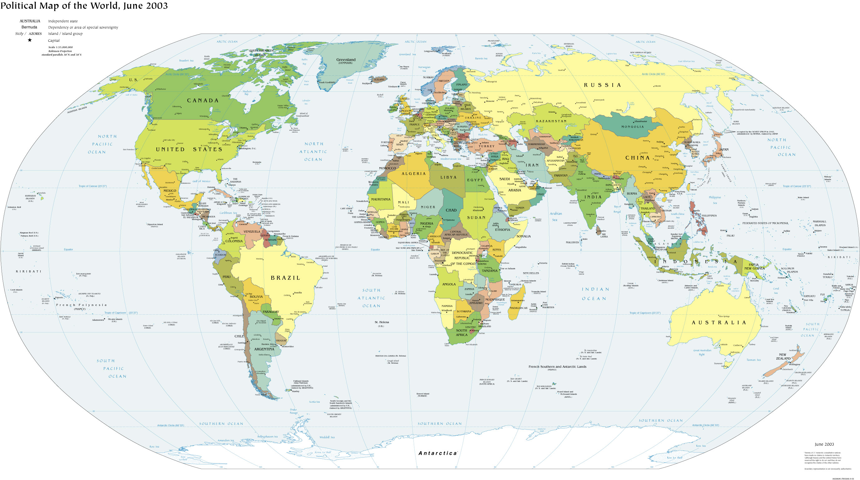 Cia The World Factbook 2002 Political Map Of The World