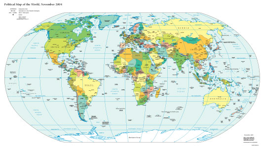 Cia The World Factbook Political Map Of The World